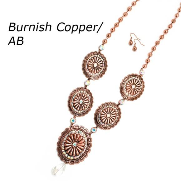 Copper Concho Necklace Set Boutique